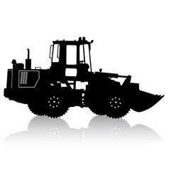 Silhouette of a heavy loaders with ladle vector