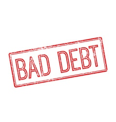 Bad debt red rubber stamp on white vector