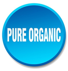 Pure organic blue round flat isolated push button vector