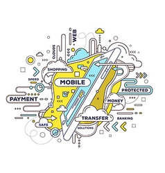 creative of mobile transfer with phone and t vector image