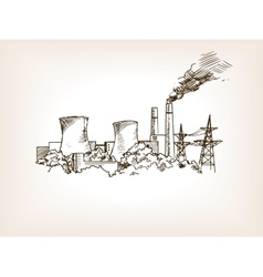 Nuclear power plant sketch vector