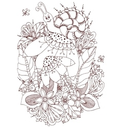 Zen tangle snail on flowers vector