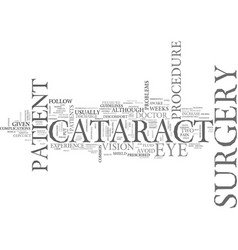 After cataract surgery text word cloud concept vector