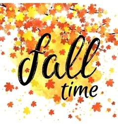 Autumn time lettering banner seasonal fall poster vector