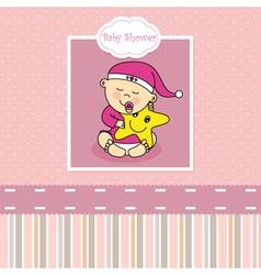 Baby girl birth card vector image vector image