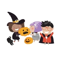 Children trick or treating in Halloween costume vector image vector image