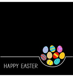 Colored Happy Easter egg set White line Black vector image vector image
