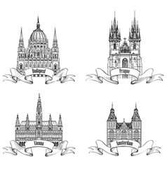 famous european capital city buildings landmarks vector image