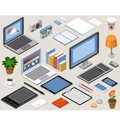 Flat isometric workspace laptop tablet vector