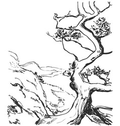 hand drawn landscape with tree and hills page of vector image vector image