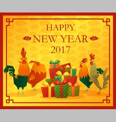 Happy new year 2017 card with rooster 5 vector