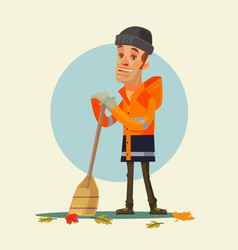 happy smiling yardman character sweeping leaves vector image