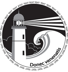 Lighthouse poster labelBlack graphic image for vector image vector image