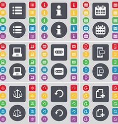List information calendar laptop cassette sms vector
