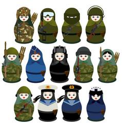 matryoshka soldiers vector image vector image