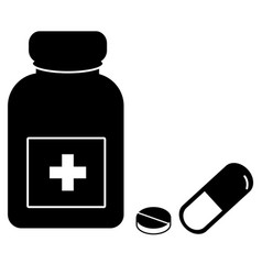 Medicine icon on white background pills and vector