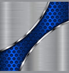 metal background with blue diagonal perforation vector image vector image