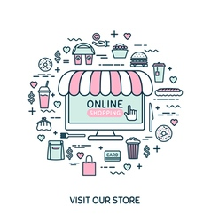 Online shopping Set with fast food vector image