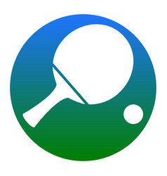 Ping pong paddle with ball white icon in vector