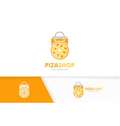 Pizza and shop logo combination food and vector