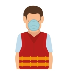 repairman character working with safety mask vector image