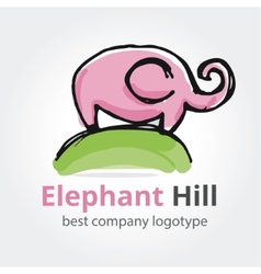rose elephant on the green hill vector image