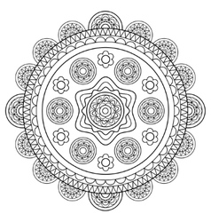 Round floral rosette in black and white vector image