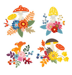 set of hand drawn bouquets made of mushrooms vector image
