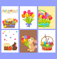 Set of happy easter with flowers and sweet dessert vector