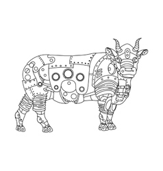 Steampunk style bull coloring book vector