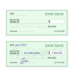 Template blank bank check vector