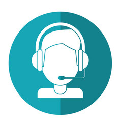 Video gamer with headset shadow vector