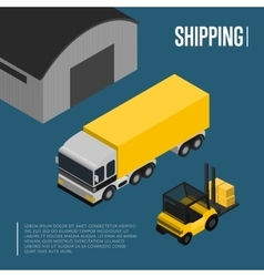 Warehouse and freight shipping isometric concept vector