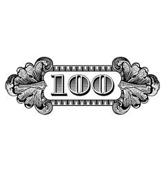 100 dollar label vector image vector image