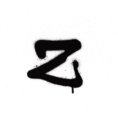 Sprayed z font graffiti with leak in black vector