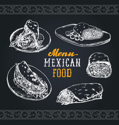 Mexican food menu in  burritos nachos vector