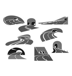 Road tunnel icon set with highway and freeway vector