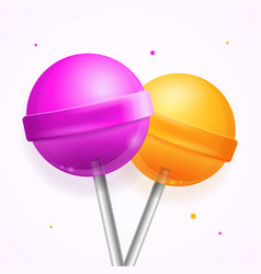 Realistic round sweet candy lollipops set vector