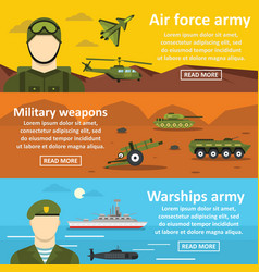 Military force banner horizontal set flat style vector