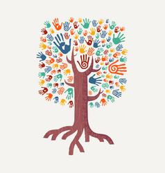 Hand drawn handprint tree for community help vector