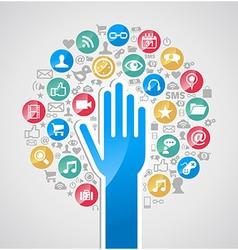 Diversity internet technology hand tree vector