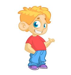 Cartoon little boy waving vector