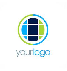 Round globe geometry logo vector