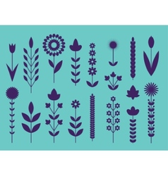 Geometric cute flower icons set vector