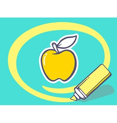 Marker drawing circle around apple on blu vector