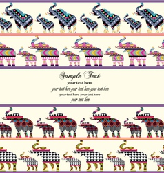 Invitation with elephants in aztec style vector