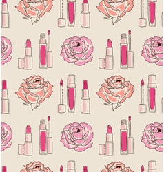 Cosmetics seamless pattern hand drawn lipstick and vector