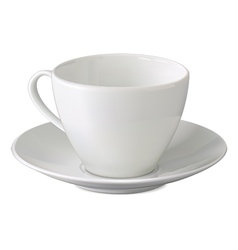 Empty white cup and saucer vector