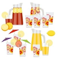 Set of pitcher and glasses vector image