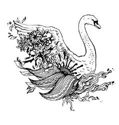 Abstract graphic swan print vector